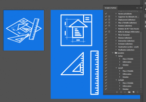 Capture de l'interface et de la palette des actions de projections ISO dans Illustrator CC.